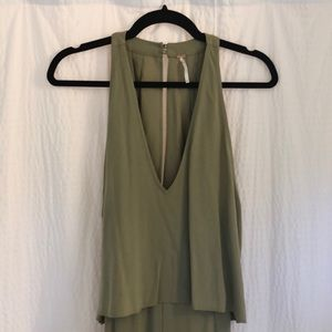 Free people olive green jumpsuit